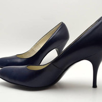 Vintage Mr. Neal Pumps, Navy Blue Leather High Heel Pumps, MINT, Size 8 AA, circa 1950s