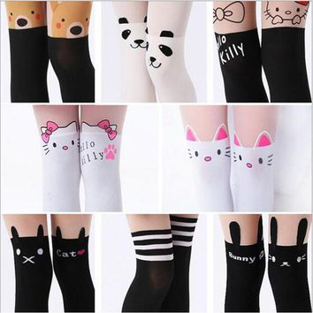 2018 New Design Girls Tights Lovely Hello Kitty Bunny Stockings for Girls Cartoon Patchwork Kids Tights Summer girl stockings