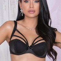 Stretch Satin and Lace Cage Bra