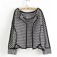Black Houndstooth Pattern Long-Sleeve Asymmetrical Blazer