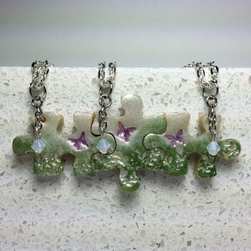 Puzzle Necklace Polymer Clay  Mother Daughter Jewelry Set of 3 Butterflys and Flowers Swarovski Crystals 173