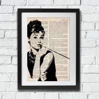 Audrey Hepburn Art - vintage dictionary print, vintage book sheet, dictionary art, vintage wall art, wall decor - Audrey Hepburn Poster