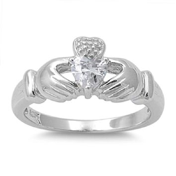 Choose Color Womens Claddagh Ring Rhodium Plated Sterling Silver Heart Shaped Claddagh Ring