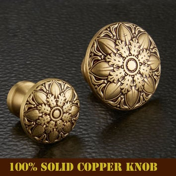 High Quality 100% Solid Copper European Classic Copper Bronze Drawer Cabinet Cupboard Door Knob Furniture Handle Single Hole
