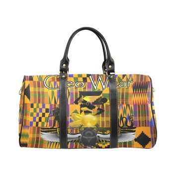 KENTE PRINT TRAVEL BAGS Travel Bag (Black)