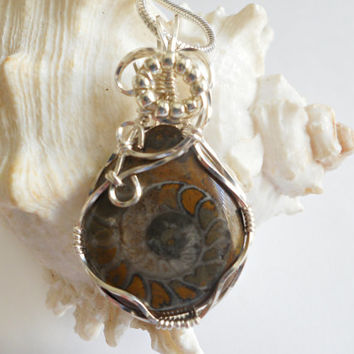Wire Wrapped Ammonite Pendant, Fossil Necklace, Handmade Jewelry