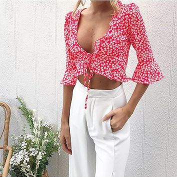 Red Floral Irregular Ruffle Elbow Sleeve Fashion T-Shirt