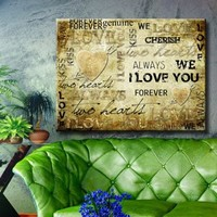 """Large 26x34"""" Box Framed Canvas Print Wall Art Room Artwork Stretched Gallery Wrapped Painting Hanging Original Decorative Modern Home & Living Decor Retro Vintage Love Freedom Heart Inscription Letters Card Print Poster Aged Like Painting (Canm22)"""