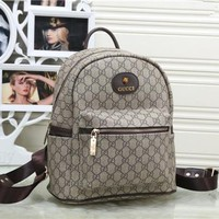 """Gucci"" Women Retro Classic GG Logo Print Backpack Fashion Casual Double Shoulder Bag"
