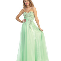 (PRE-ORDER) 2014 Prom Dresses - Lime Green Chiffon Beaded Strapless Sweetheart Gown