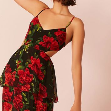 Semi-Sheer Floral Chiffon Flounce Dress