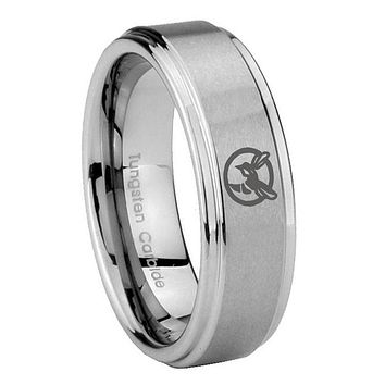8MM Honey Bee Step Edges Silver Tungsten Carbide Laser Engraved Ring