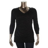 JM Collection Womens Petites Knit V Neck Pullover Sweater