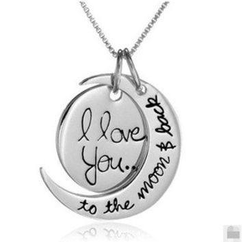 "romantic Valentine's Day "" I Love You To The Moon and Back"" Silver Pendant Necklace Chain Statement Necklace = 1669319492"