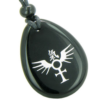 Ankh Egyptian Power of Life Freedom Spirit Wings Kanji Amulet Black Agate Pendant Necklace