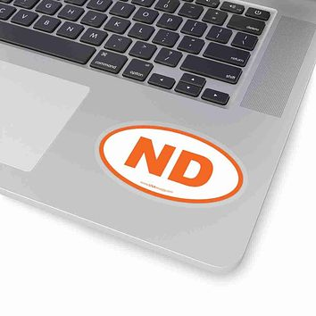 North Dakota NE Euro Oval Sticker ORANGE