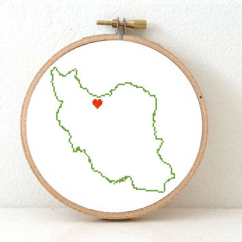 IRAN map modern cross stitch pattern. Iran art. Carnaval gift. Iran poster with heart for Tehran.