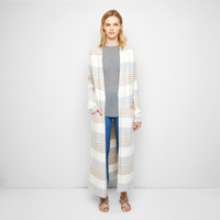 Cashmere Felt Long Sweater Coat - Latte/Light Grey