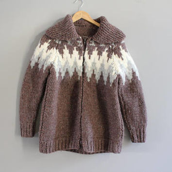 Hand knitted Cowichan Chunky Knit Cardigan Brown Nordic Norwegian Style Cardigan Thick Pure Wool Slouchy Sweater Vintage Size S #K060A