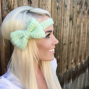 Mint Green Crochet Bow Headband w/ Natural Vegan Coconut Shell Buttons Adjustable Hair Band Girl Woman Teen Head Wrap Cute Knit Accessories