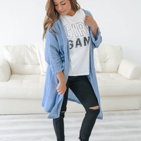 Coffee Break Cardigan - Carolina Blue