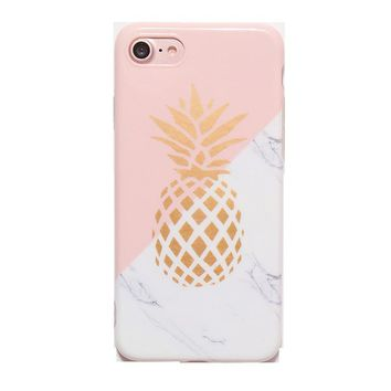 Fashion Creative Personality Tide Women Splicing Pineapple Marble Tpu Soft Protection Phone Shell For Iphone 7 Plus / 7 / 6 / 6s / 6s Plus / 6 Plus