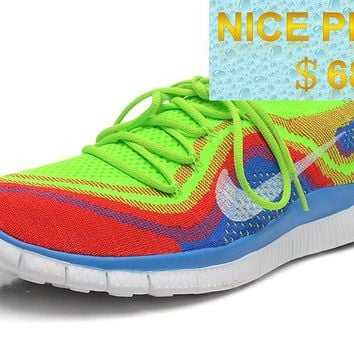 2018 Shop Women Nike Free Flyknit+ 5 Electric Green White Crimson Volt Rainbow sneaker