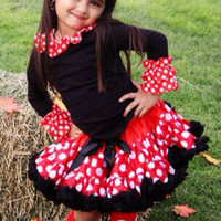 DELUXE Minnie Mouse inspired  pettiskirt outfit, costume, petti-skirt 1-7 years, red black Disney tutu, baby, girls, toddler, fluffy tulle