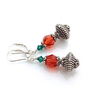 Orange Earrings, Emerald, Crystal, Antique Silver, Pumpkin, Fall Jewelry