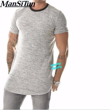Man si Tun Mens Viscose Cotton Wide Neck Back basic tees Long Lengthen  Extended Essential Short Sleeve Short  Kanye West Style