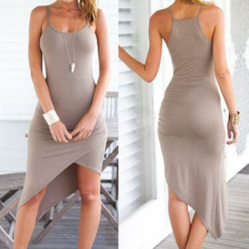 Spaghetti Strap Midi Dress - Gray