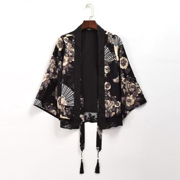 Women Vintage Japanese Black Chiffon Trench Crane Fan Print Short/Long Cardigan Outwear