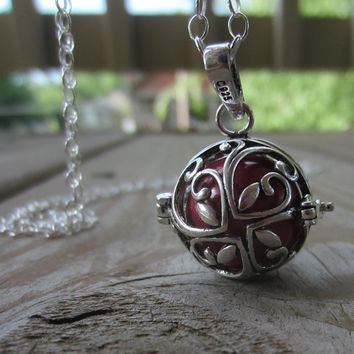 Harmony Ball Necklace, Red Harmony Ball in Leaf Locket, Pregnancy Necklace, 20mm and 36""