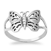 925 Sterling Silver Butterfly 14MM Ring