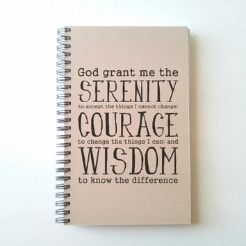 Serenity Prayer, Journal, spiral notebook, wire bound diary, sketchbook, brown kraft, white, handmade, recovery journal, AA, inspirational