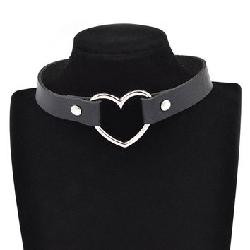 Gothic Punk Style Multi Color Alloy Heart Pendant PU Leather Choker Necklace Collar 90s Grunge Heart Choker