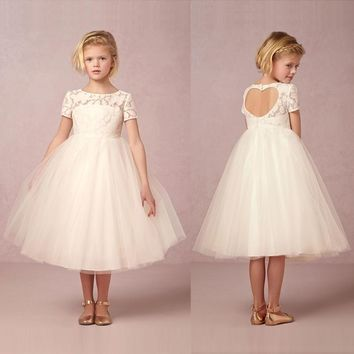 White Kids Girls Lace Princess Pageant Wedding Bridesmaid Birthday Party Dress Size 1-14 Years
