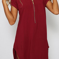 Wine Red V-Neck Short Sleeve Mini Dress