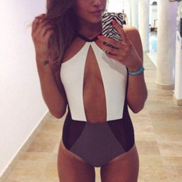 ONETOW Hollow Strappy Bandage Victoria's Secret Like Women One Piece Swimsuit Bathing Suit Bandage Bikini Set
