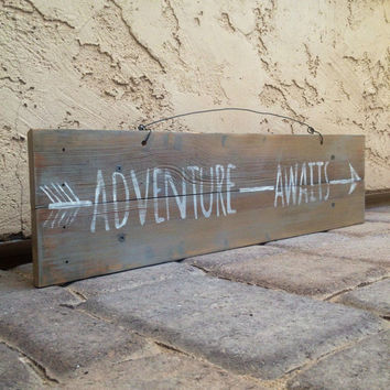 Adventure Awaits Reclaimed Wood Pallet Sign / Home Decor / Ski Decor / Cabin Decor