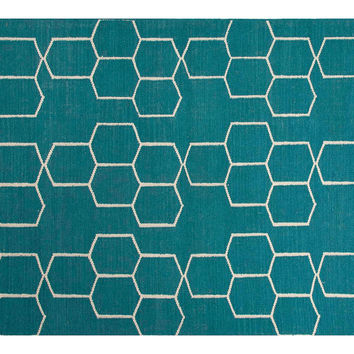 Dane Flat-Weave Rug, Blue/Ivory, Area Rugs
