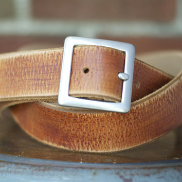 The Manning - Mens Tan Leather Distressed Belt