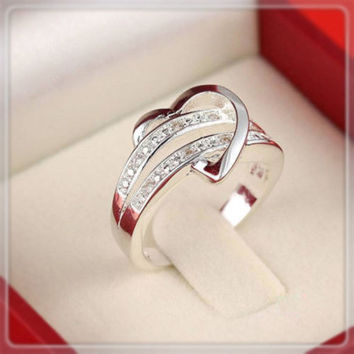 925 Sterling Silver Plated Wedding Ring Rhinestone Women US Size 5-10