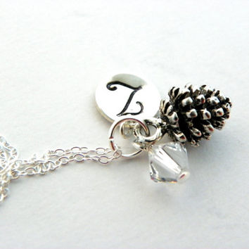 Personalized Bridesmaid Necklace, Gift Set, Pinecone Necklace, Monogram Initial, Custom Birthstone, Winter Wedding, Be My Bridesmaid Gift