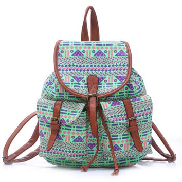 Green College Aztec School Bag Travel Bag Canvas Lightweight Backpack