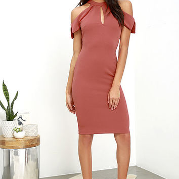 Mixologist Rust Red Bodycon Midi Dress