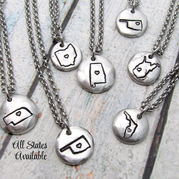 State Necklace - Hand Stamped Necklace - Personalized Necklace - Personalized Map Necklace - Custom Jewelry - Stamped Metal Pewter Necklace