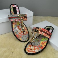 GUCCI Women Casual Fashion Flower Print Sandal Slipper Shoes1