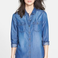 Petite Women's Halogen Long Sleeve Chambray Shirt
