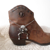 Antique Silver Skull Guns Rhinestone Boot Bracelet Choker Necklace pirate steampunk goth gothic bling skeleton jewerly boho cowgirl hippie